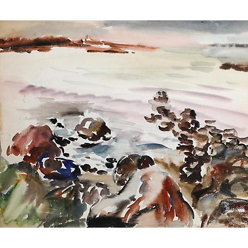 Rockport Coastline Watercolor