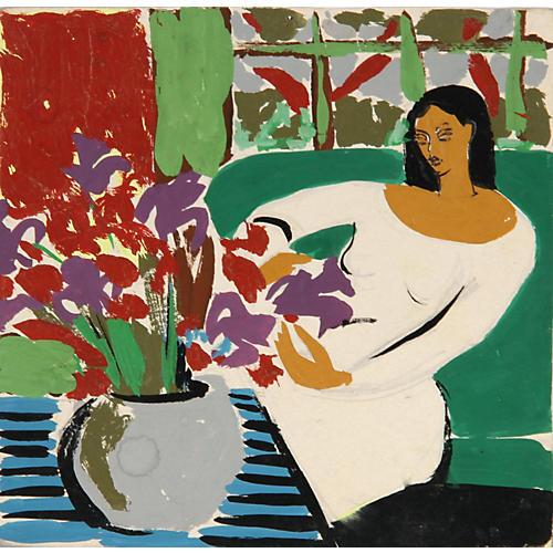 Interior w/ Flowers Huguette Baudrot