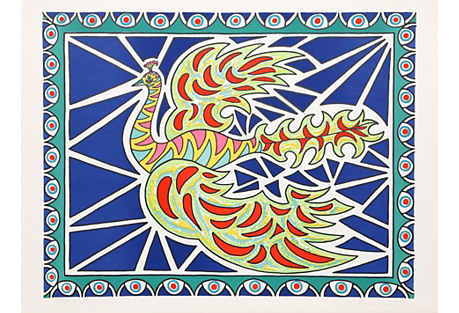 Flying Peacock II by Edouard Dermit