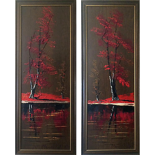 Autumn Trees Diptych by Morris Katz