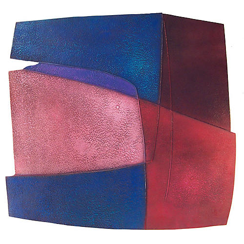 Pink & Blue Abstract by Warren Wolf