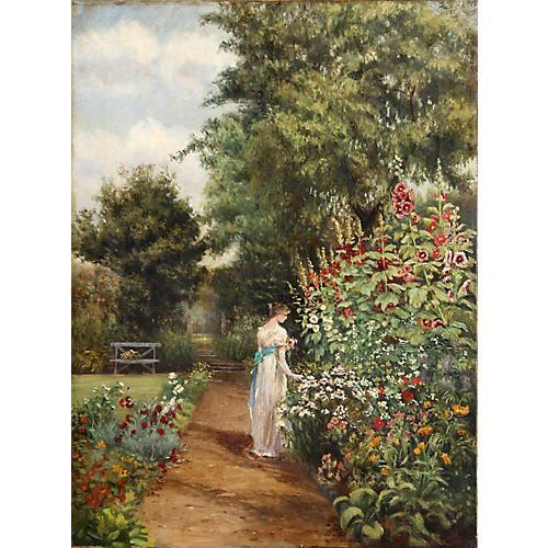 Victorian Woman in Garden