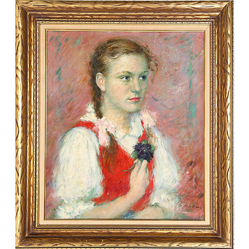 Portrait of a Girl by Lajos Rezes Molnar