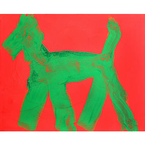 Dog (Green on Red) (16) by Peter Mayer