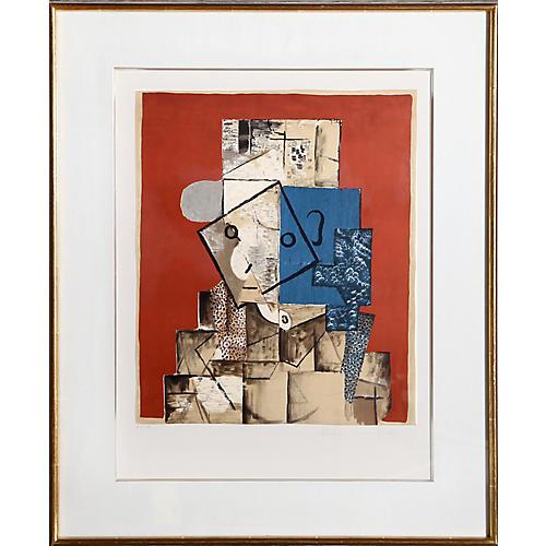 Visage sur Fond Rouge by Pablo Picasso