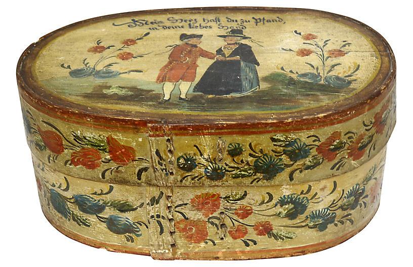 Antique Dutch Hand-Painted Wedding Box