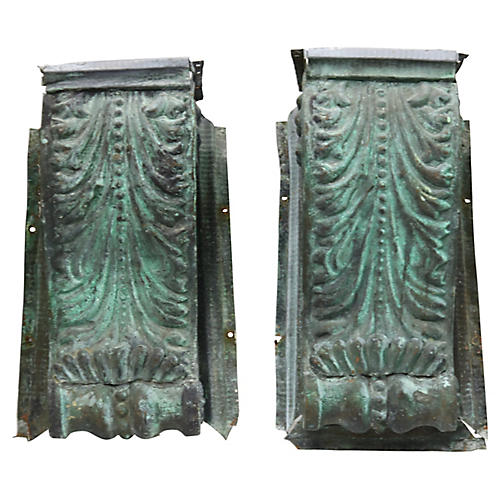 Antique Copper Architectural Pediments