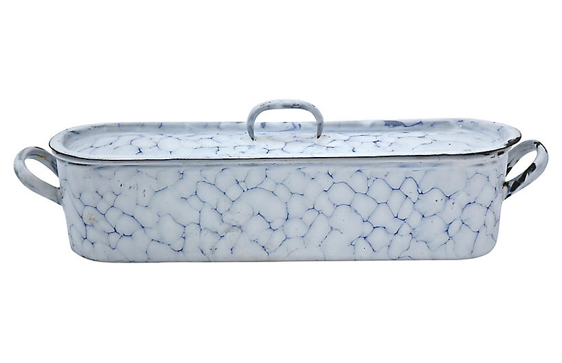 French Enamel Fish Poaching Pan