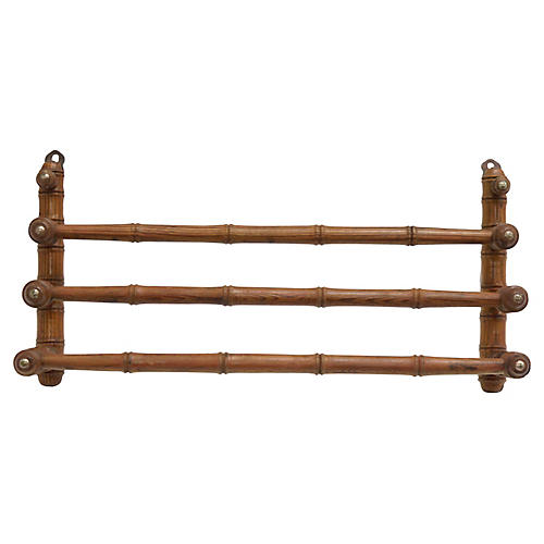 19th-C. French Faux Bamboo Towel Rack