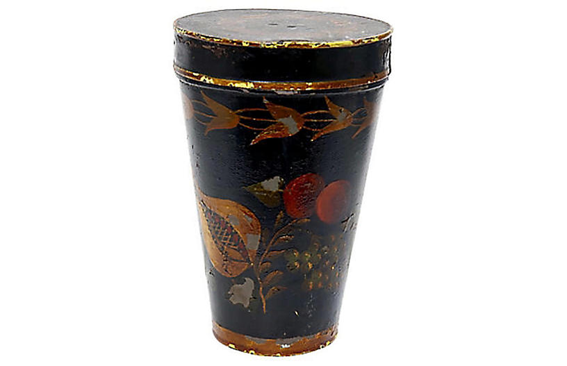 19th-C. Hand-Painted Tole Canister
