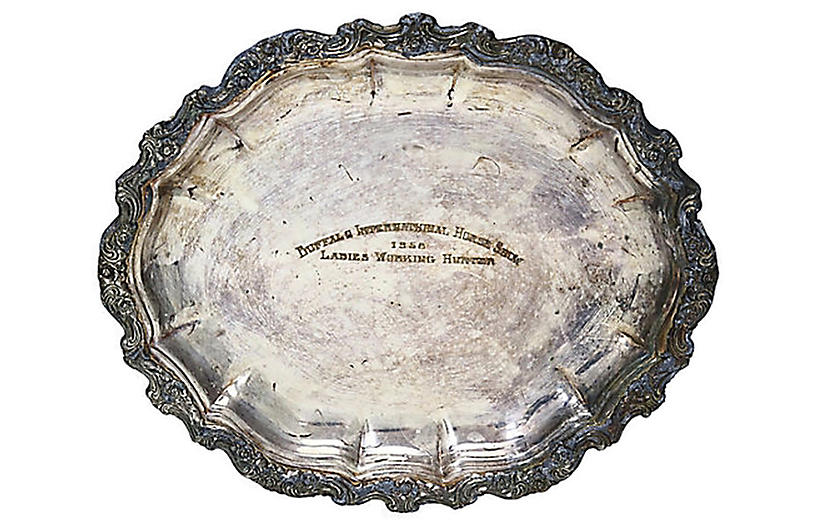 1958 Horse Show Trophy Silver-Plate Tray