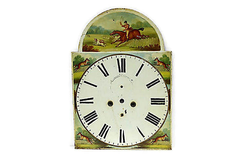 1850s Hand-Painted Fox-Hunt Clock Face