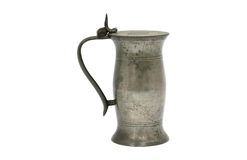 19th-C. English Pewter Ale Tankard