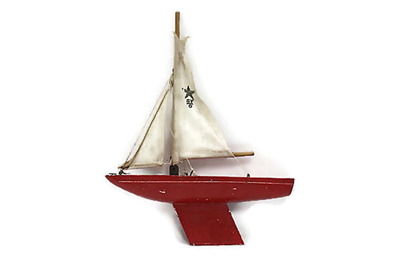 Midcentury Miniature Pond Boat