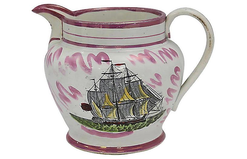 C.1830 Luster Sailors Farewell Ship Jug