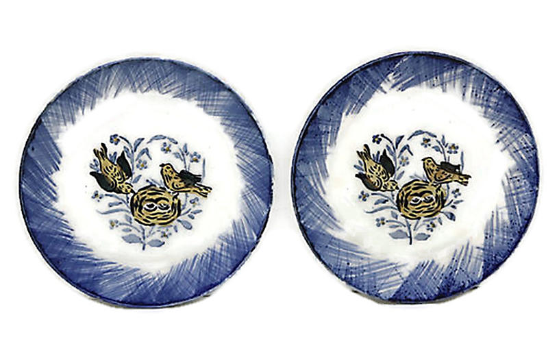 Hand-Painted French Bird Plates, Pair