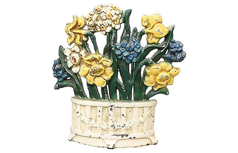 1920s Cast Iron Flower Pot Doorstop