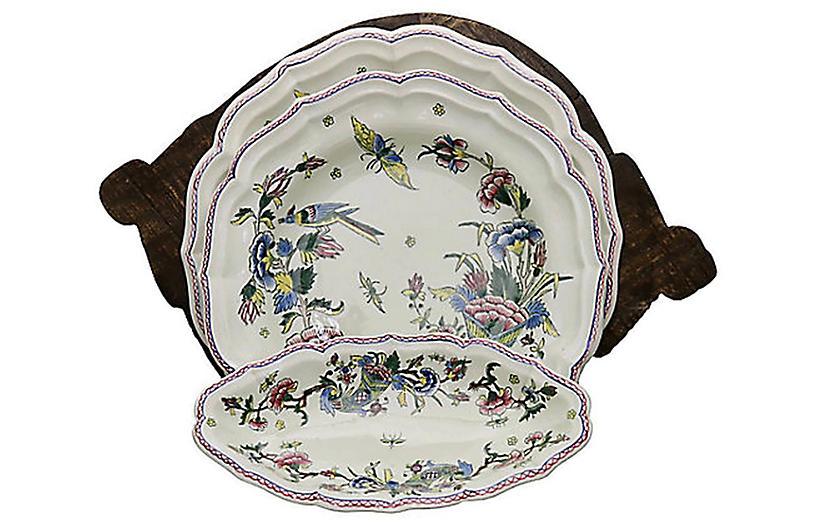 Antique Gien Serveware & Wood Bowl, 4Pcs