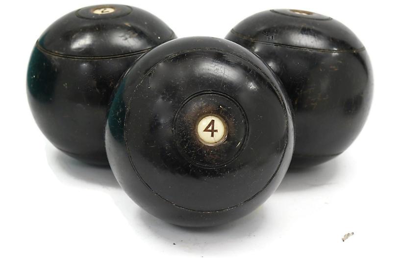 1920s English Lawn Bowling Balls, S/3