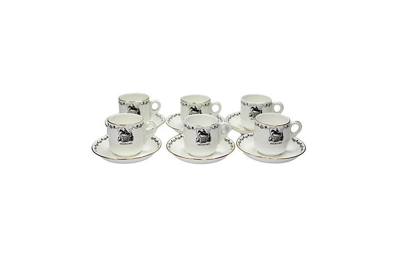 English Hunting Lodge Espresso Cups, S/6