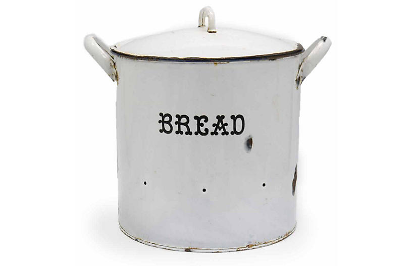 Oversized Enamel Bakery Bread Keeper