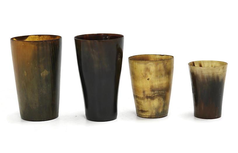 Antique Natural Horn Tumblers, 4Pcs