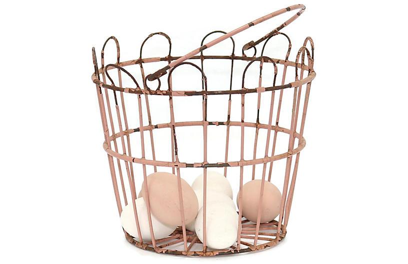 Midcentury Painted Metal Egg Basket