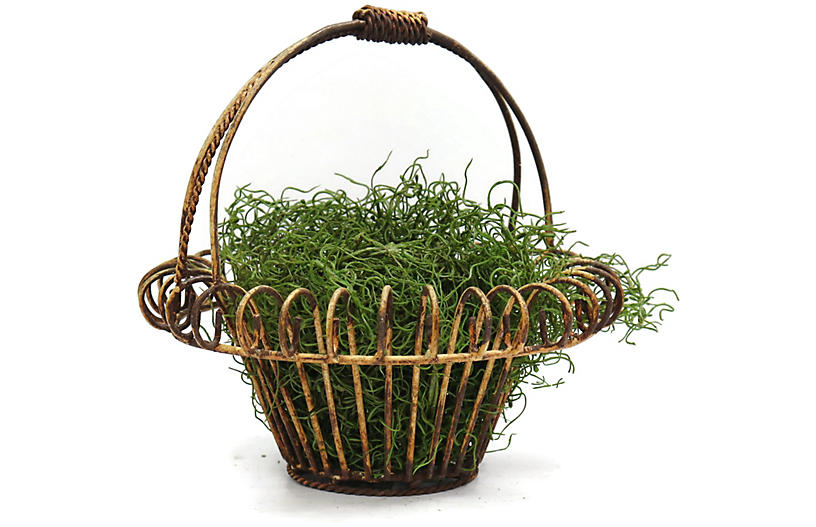 1920s Wrought Iron Flower Basket