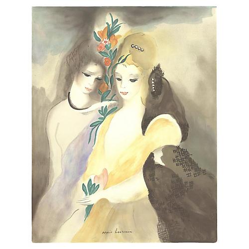 Girls w/ Flowers by M. Laurencin, 1965