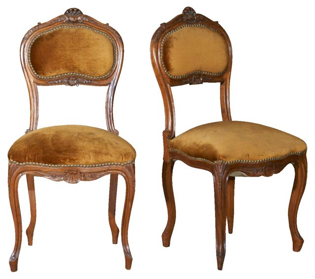 19th-C. Louis XV-Style Chairs, Pair