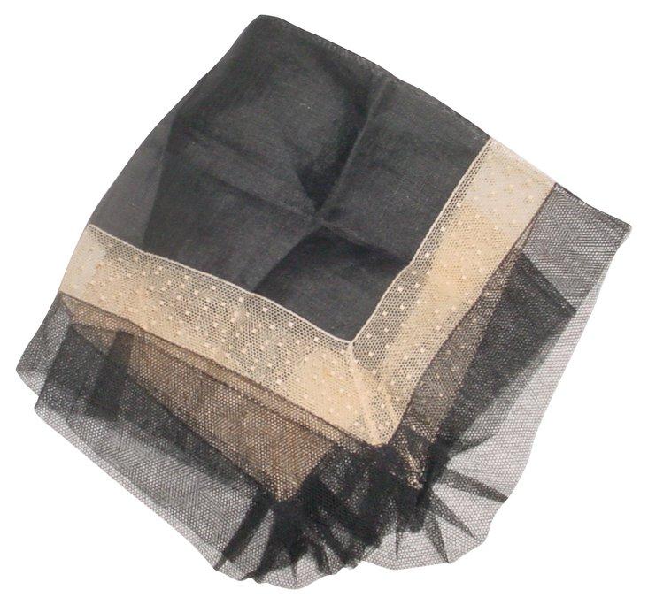 1920s Black Handkerchief w/ Lace & Tulle
