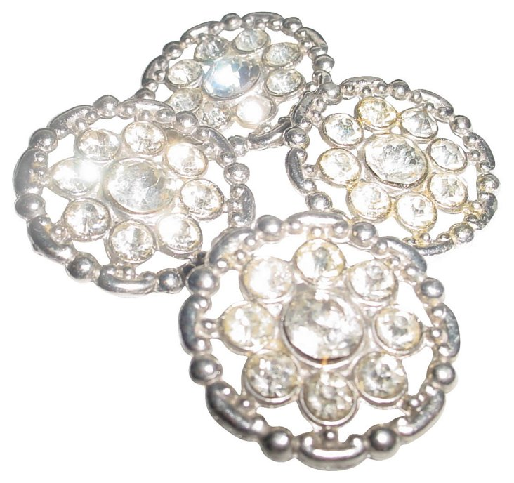 1950s Rhinestone Buttons, S/4
