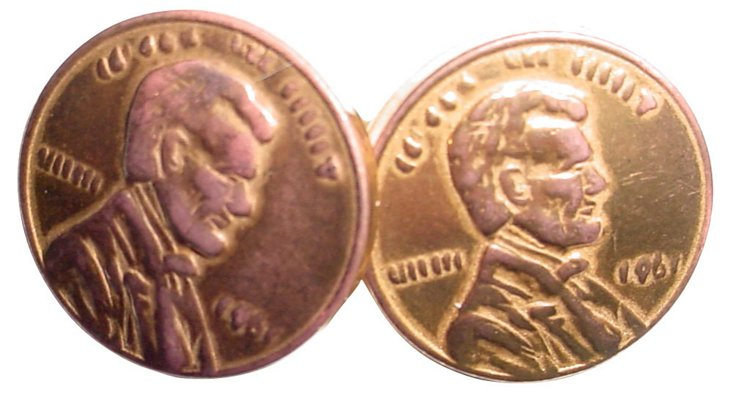 Lincoln Penny 1961 Buttons, Pair