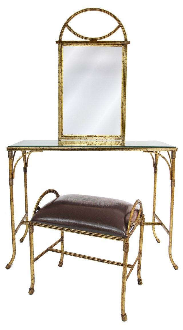 Italian Gilt Mirror-Top Vanity w/ Stool