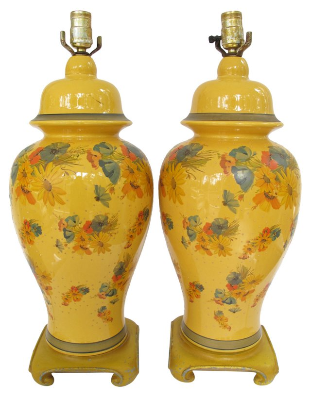 Yellow Floral Ginger Jar Lamps, Pair