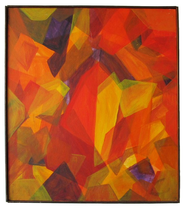 Midcentury Red & Orange Abstract