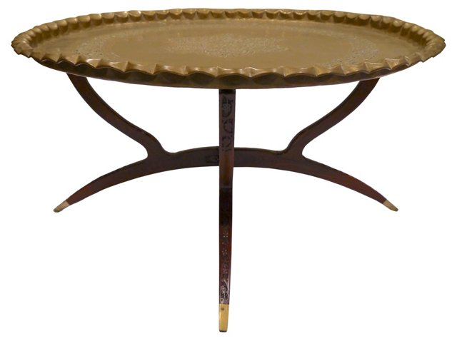 Reticulated Brass Tray   Table