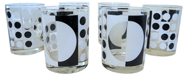 Black & White Mod Tumblers, S/6