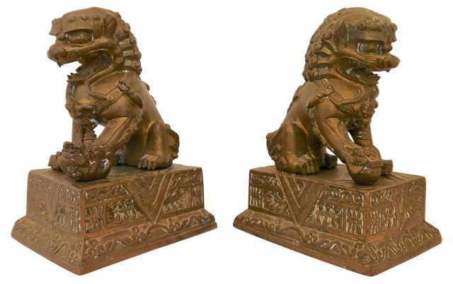 Cast Brass Foo Dogs, Pair