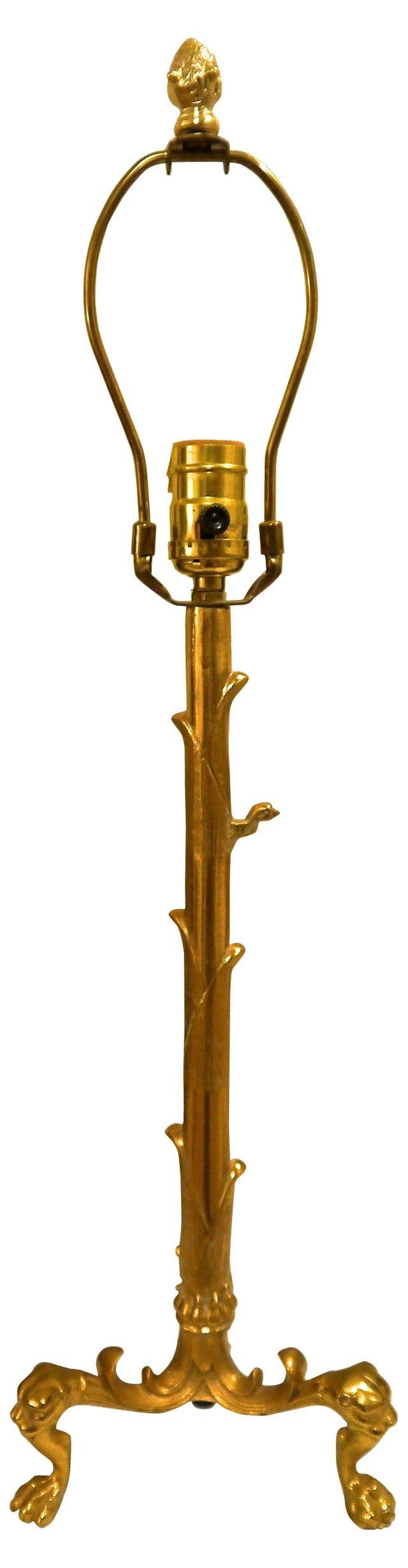 Brass Tripod Lion Lamp