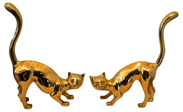 1960s Brass Cats, Pair
