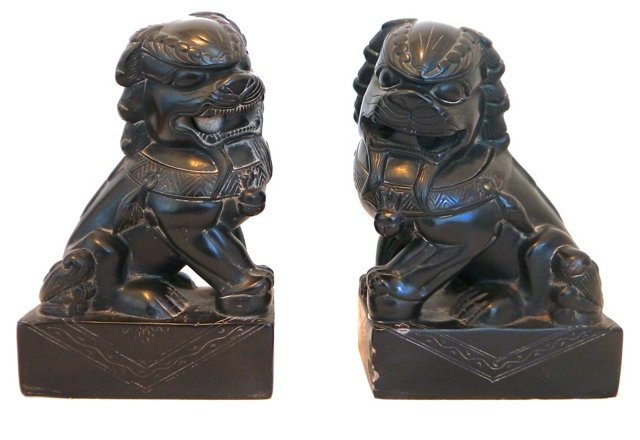 Carved Onyx Foo Dogs, Pair