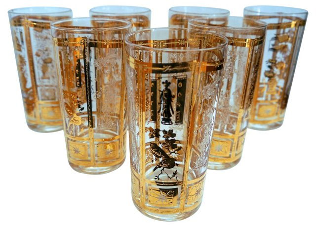 Gilded Chinoiserie Glasses, S/7