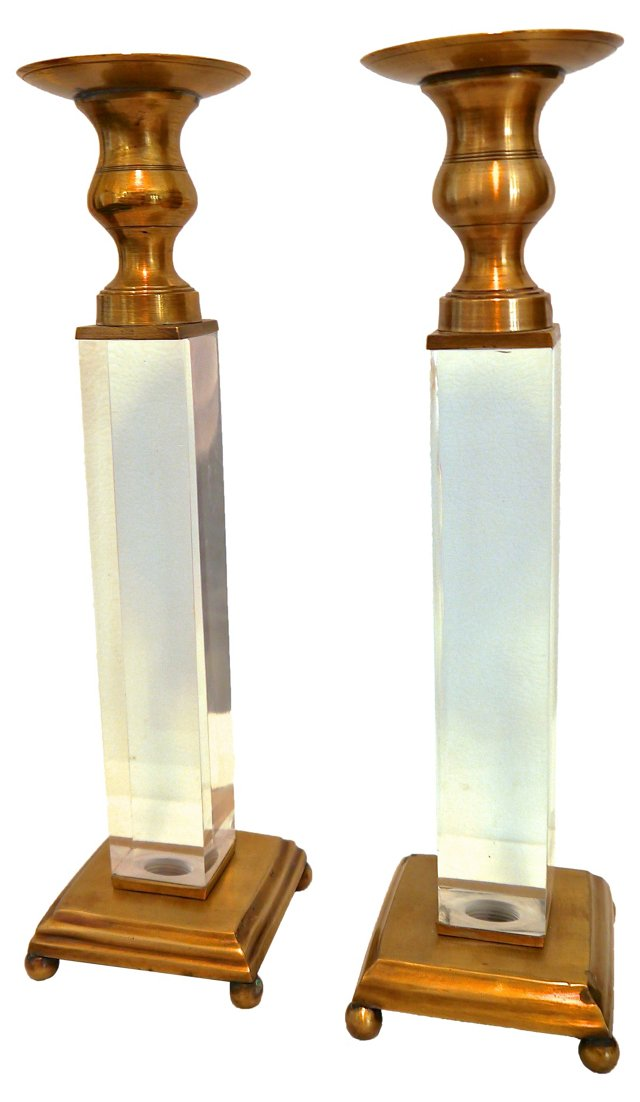 Lucite & Brass Candlesticks, Pair