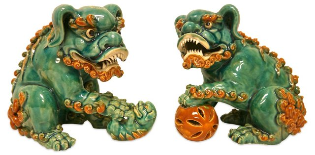 Hand-Sculpted Foo Dogs, Pair
