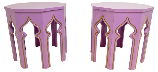 Lilac Moroccan-Style Side Tables, Pair
