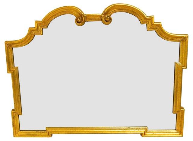 1960s Gilded Italian Scroll Mirror
