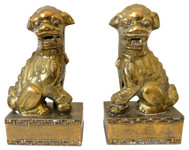 Brass Foo Dogs w/ Greek-Key Base, Pair