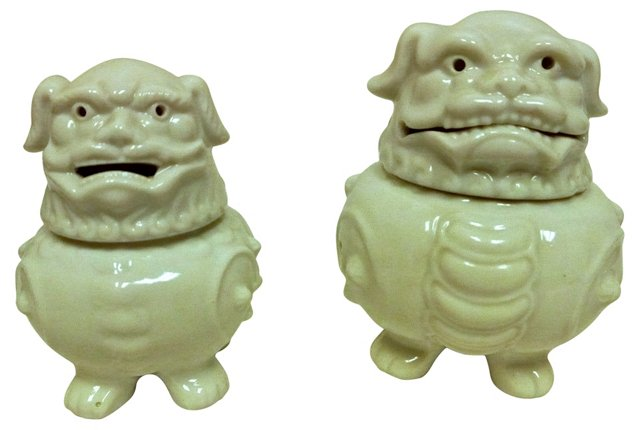 Porcelain Foo Dog Incense Jars, Pair