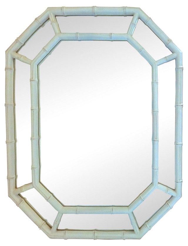 1970s White Faux-Bamboo Mirror